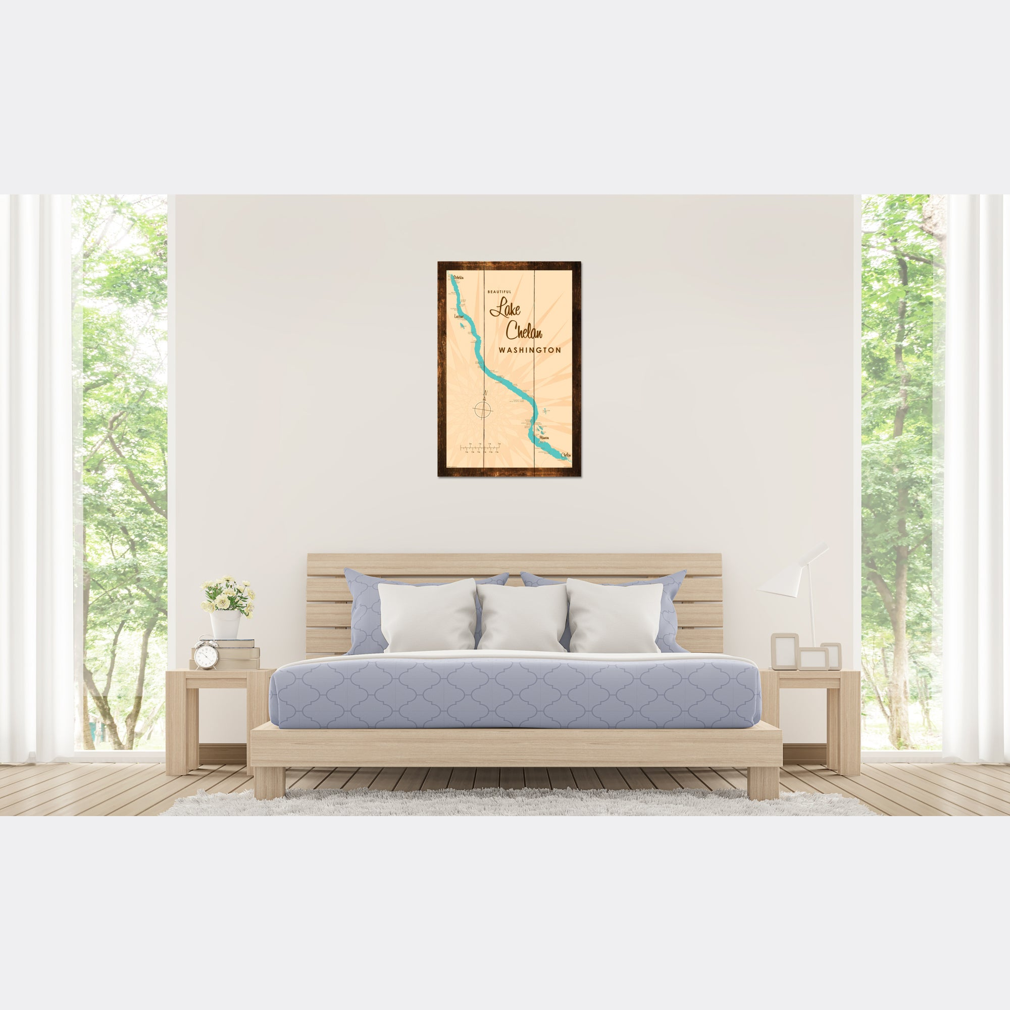 Lake Chelan Washington, Rustic Wood Sign Map Art