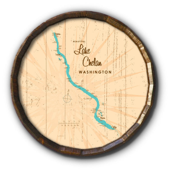 Lake Chelan Washington, Rustic Barrel End Map Art