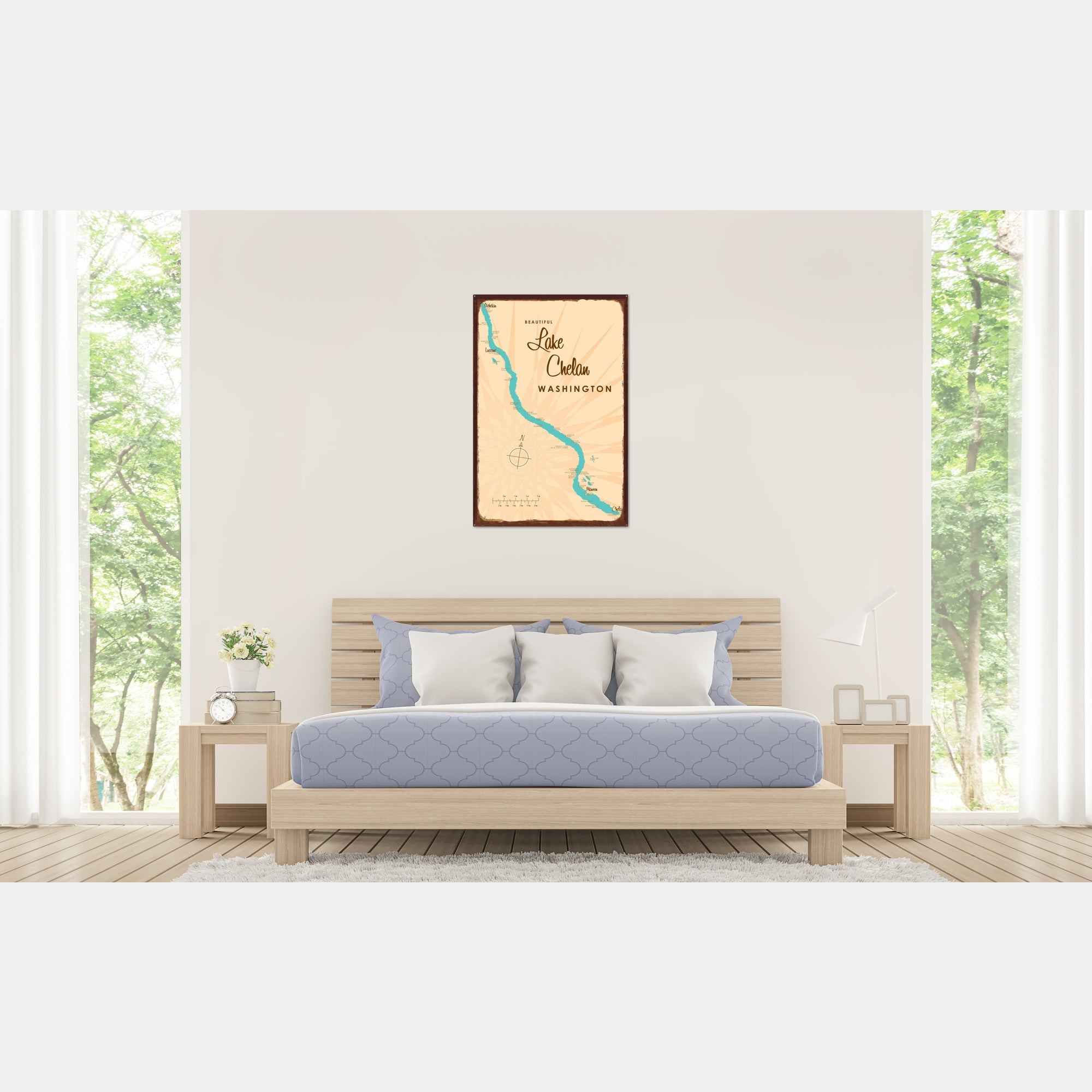 Lake Chelan Washington, Rustic Metal Sign Map Art