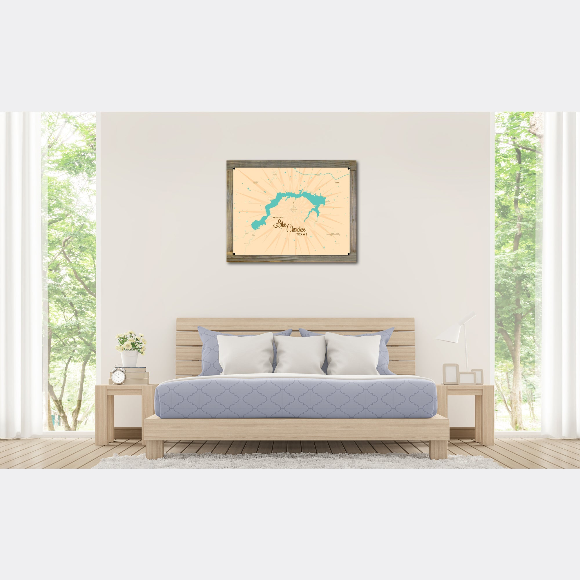 Lake Cherokee Texas, Wood-Mounted Metal Sign Map Art