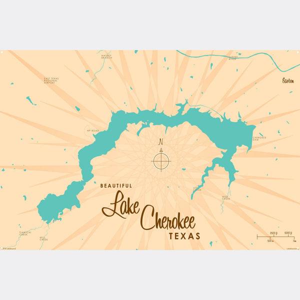 Lake Cherokee Texas, Metal Sign Map Art