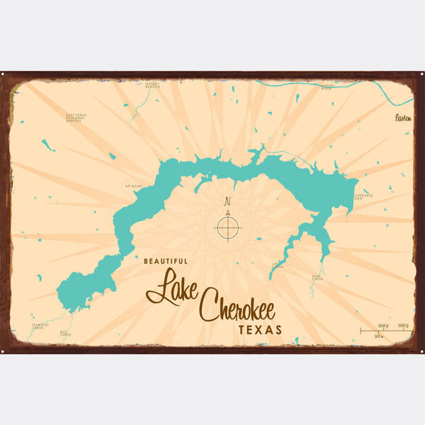 Lake Cherokee Texas, Rustic Metal Sign Map Art