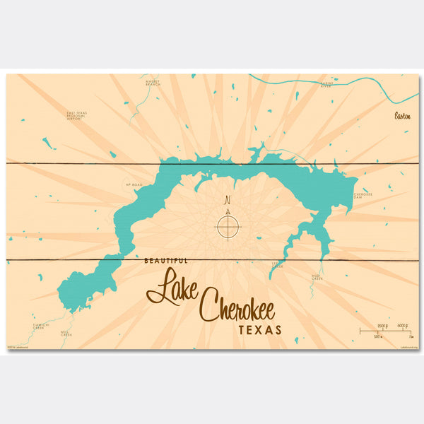 Lake Cherokee Texas, Wood Sign Map Art
