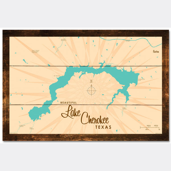 Lake Cherokee Texas, Rustic Wood Sign Map Art