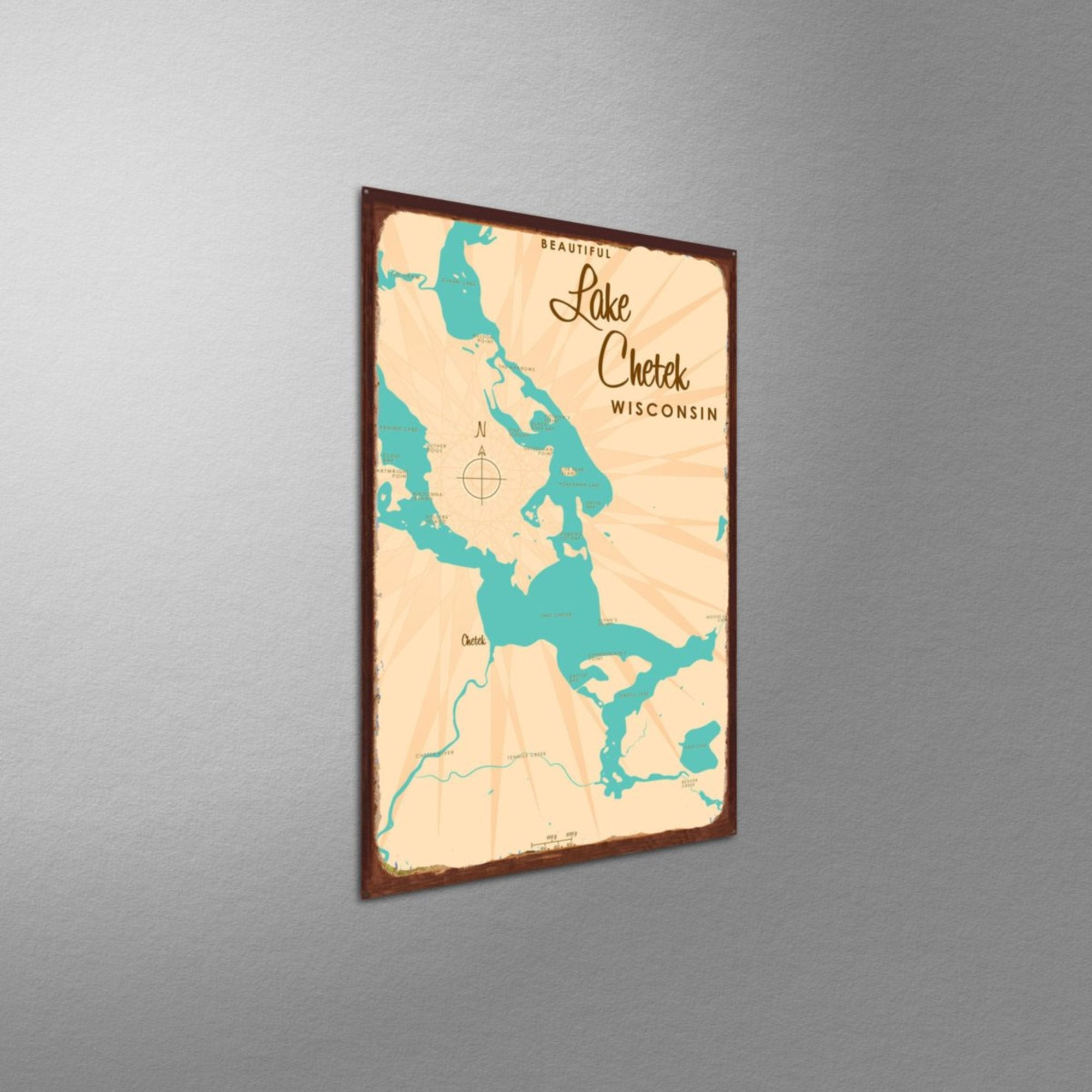 Lake Chetek Wisconsin, Rustic Metal Sign Map Art