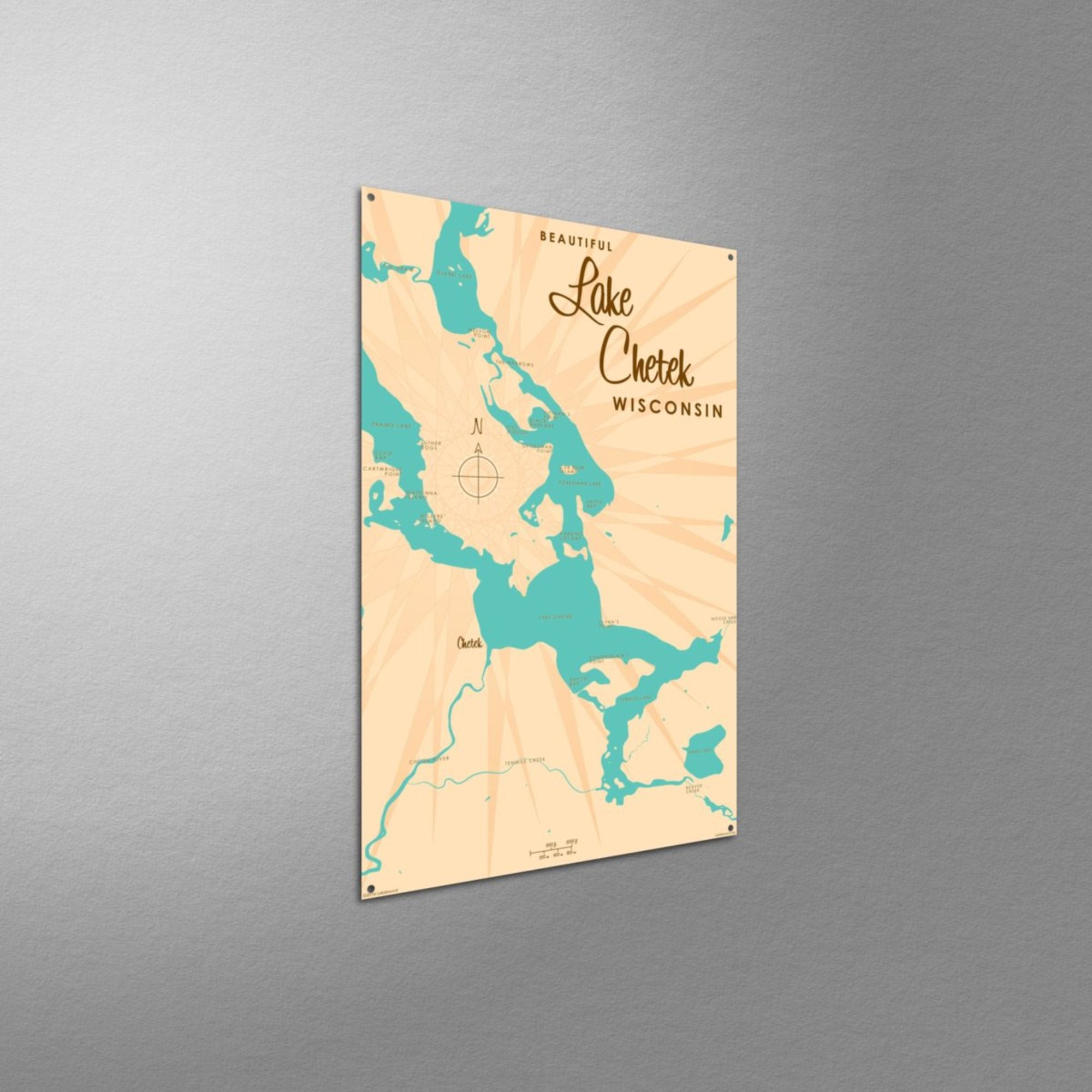 Lake Chetek Wisconsin, Metal Sign Map Art