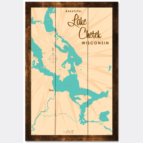 Lake Chetek Wisconsin, Rustic Wood Sign Map Art