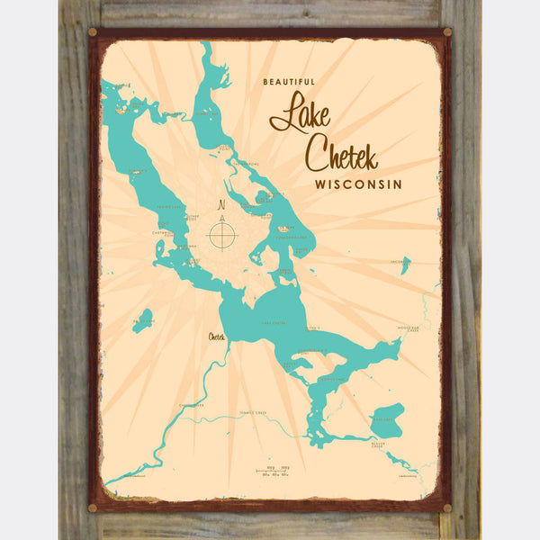 Lake Chetek Wisconsin, Wood-Mounted Rustic Metal Sign Map Art