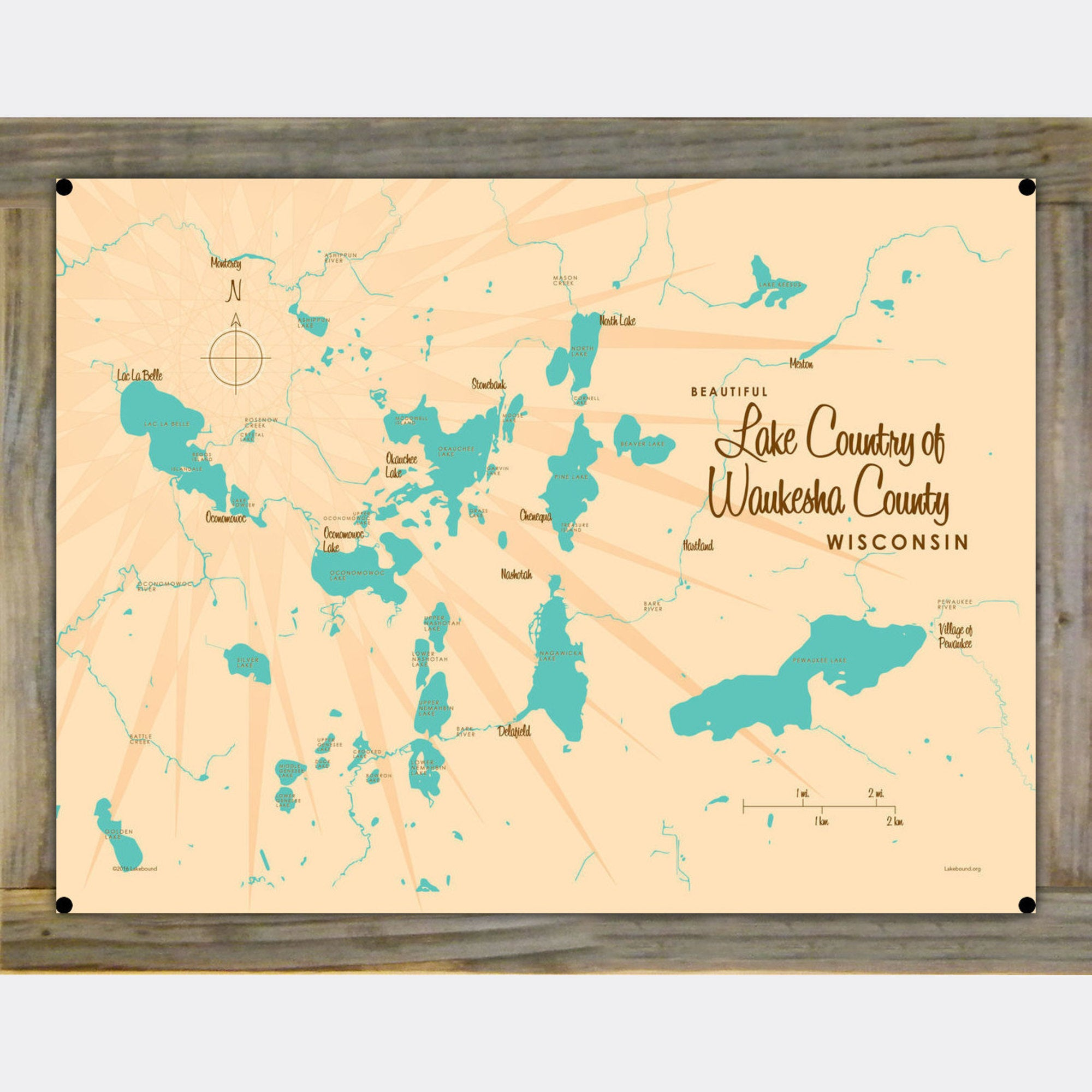 Lake Country Waukesha County Wisconsin, Wood-Mounted Metal Sign Map Art