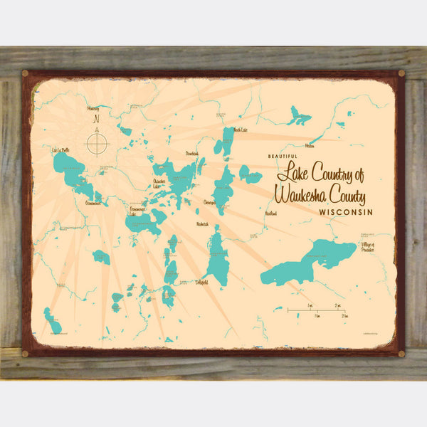 Lake Country Waukesha County Wisconsin, Wood-Mounted Rustic Metal Sign Map Art