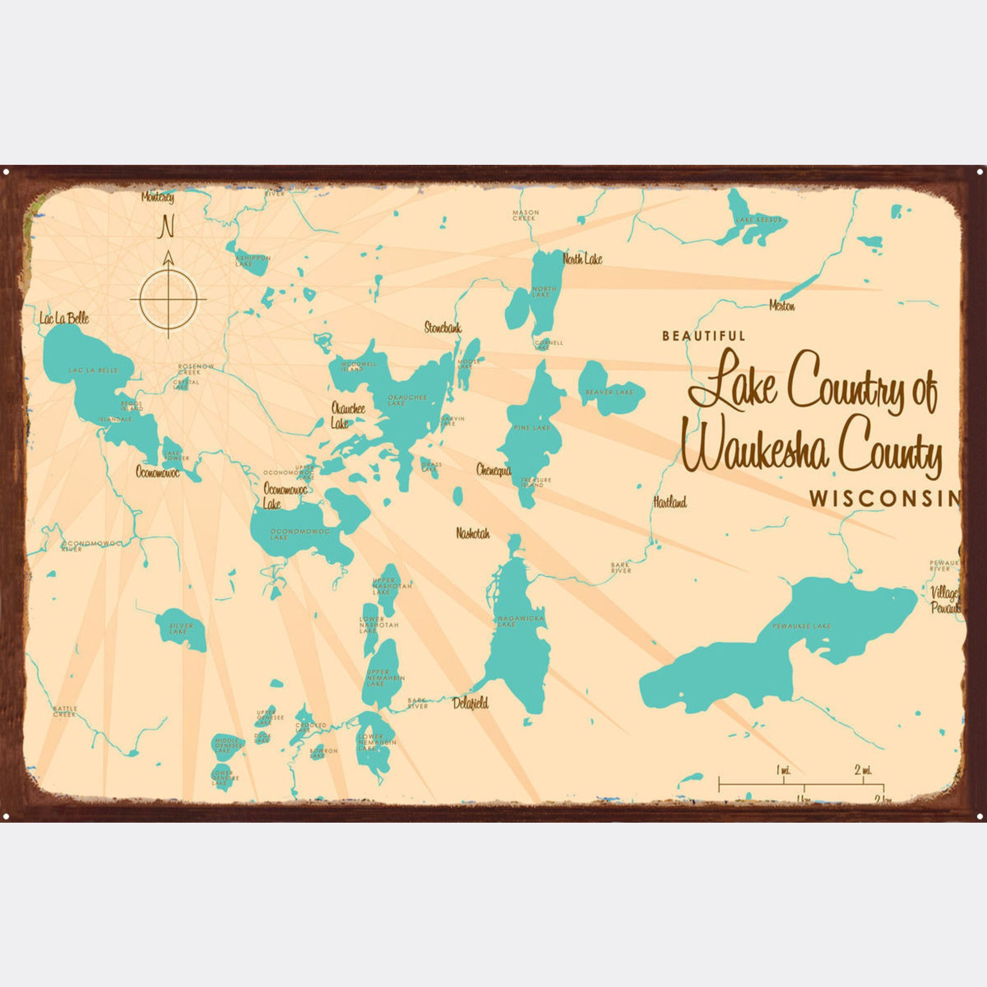 Lake Country Waukesha County Wisconsin, Rustic Metal Sign Map Art