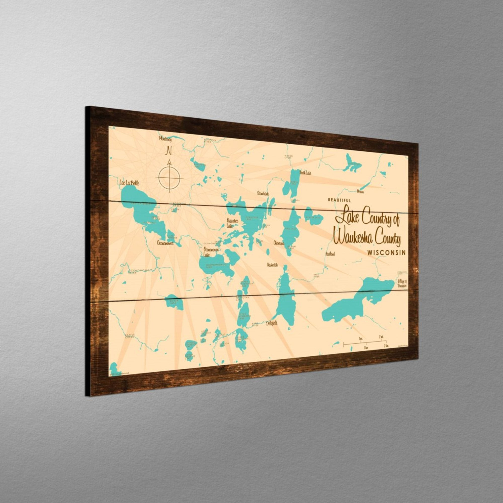 Lake Country Waukesha County Wisconsin, Rustic Wood Sign Map Art