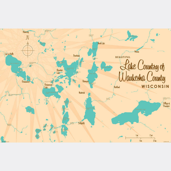 Lake Country Waukesha County Wisconsin, Metal Sign Map Art