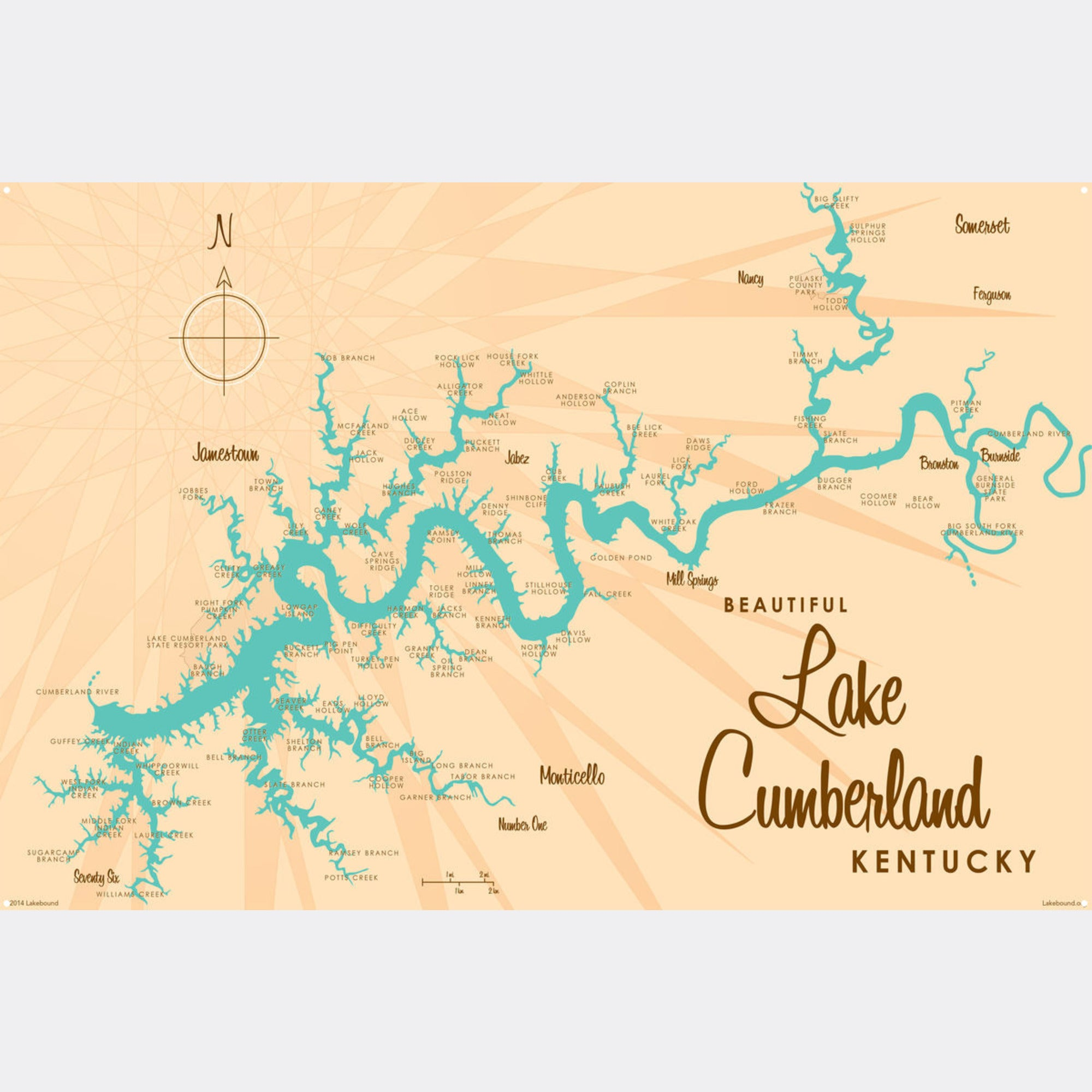 Lake Cumberland Kentucky, Metal Sign Map Art