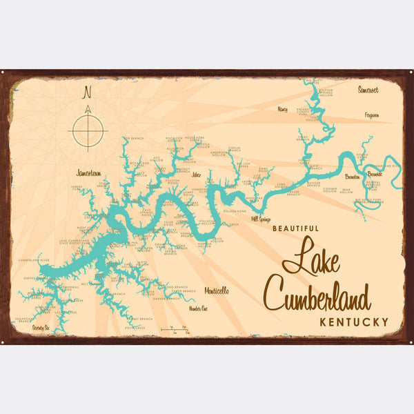 Lake Cumberland Kentucky, Rustic Metal Sign Map Art