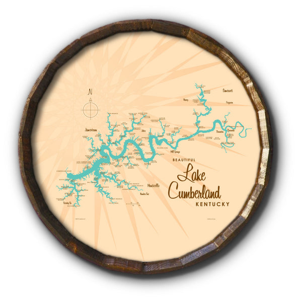 Lake Cumberland Kentucky, Barrel End Map Art