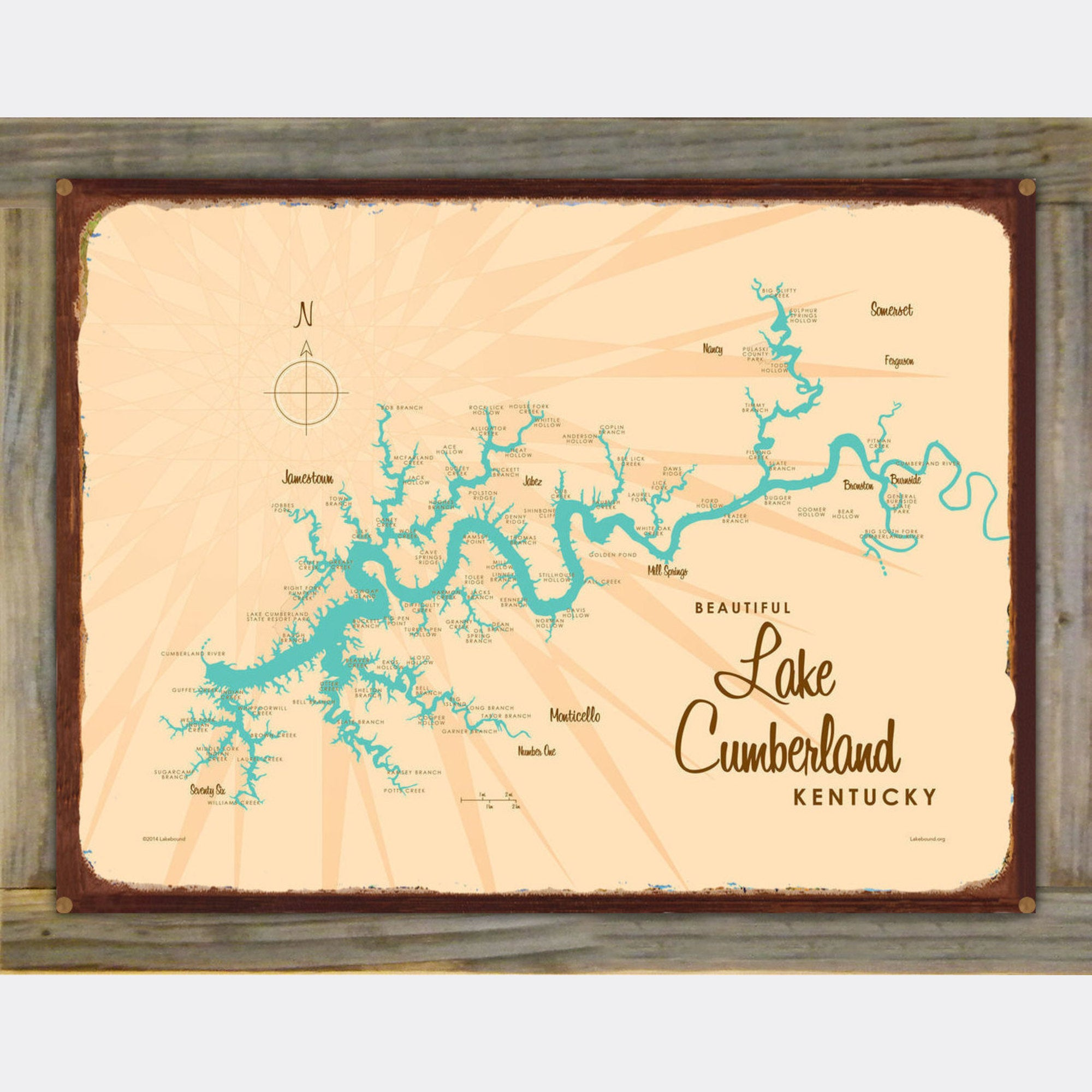 Lake Cumberland Kentucky, Wood-Mounted Rustic Metal Sign Map Art