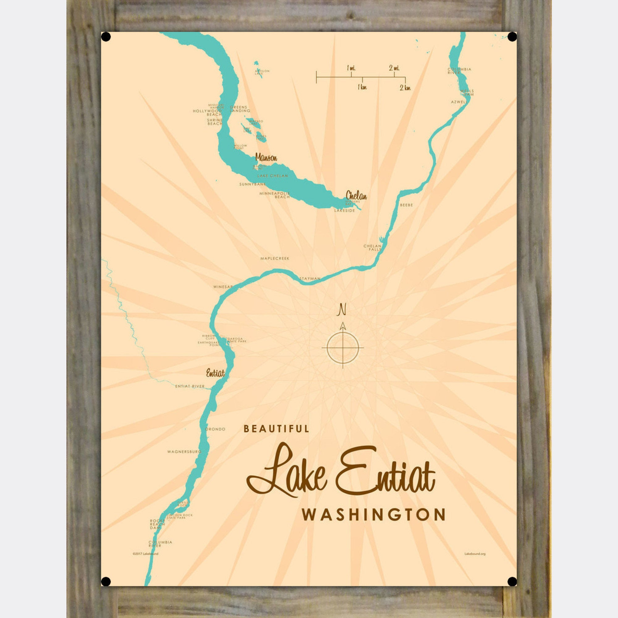 Lake Entiat Washington, Wood-Mounted Metal Sign Map Art