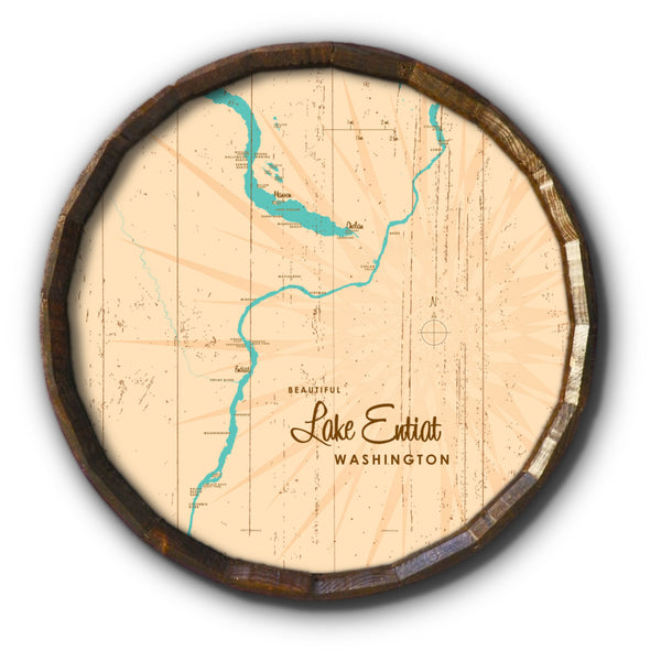 Lake Entiat Washington, Rustic Barrel End Map Art