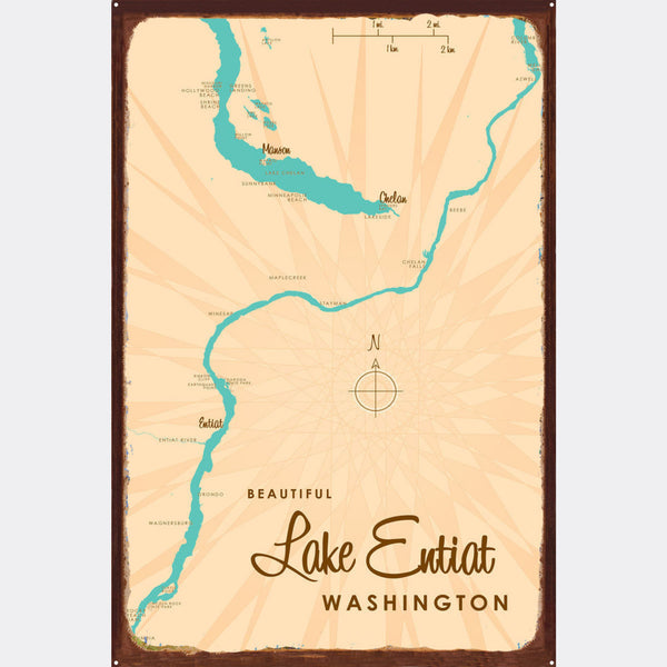 Lake Entiat Washington, Rustic Metal Sign Map Art