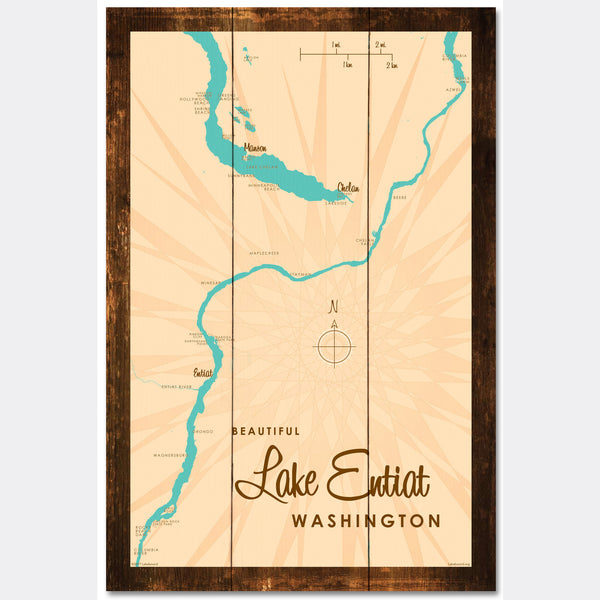 Lake Entiat Washington, Rustic Wood Sign Map Art