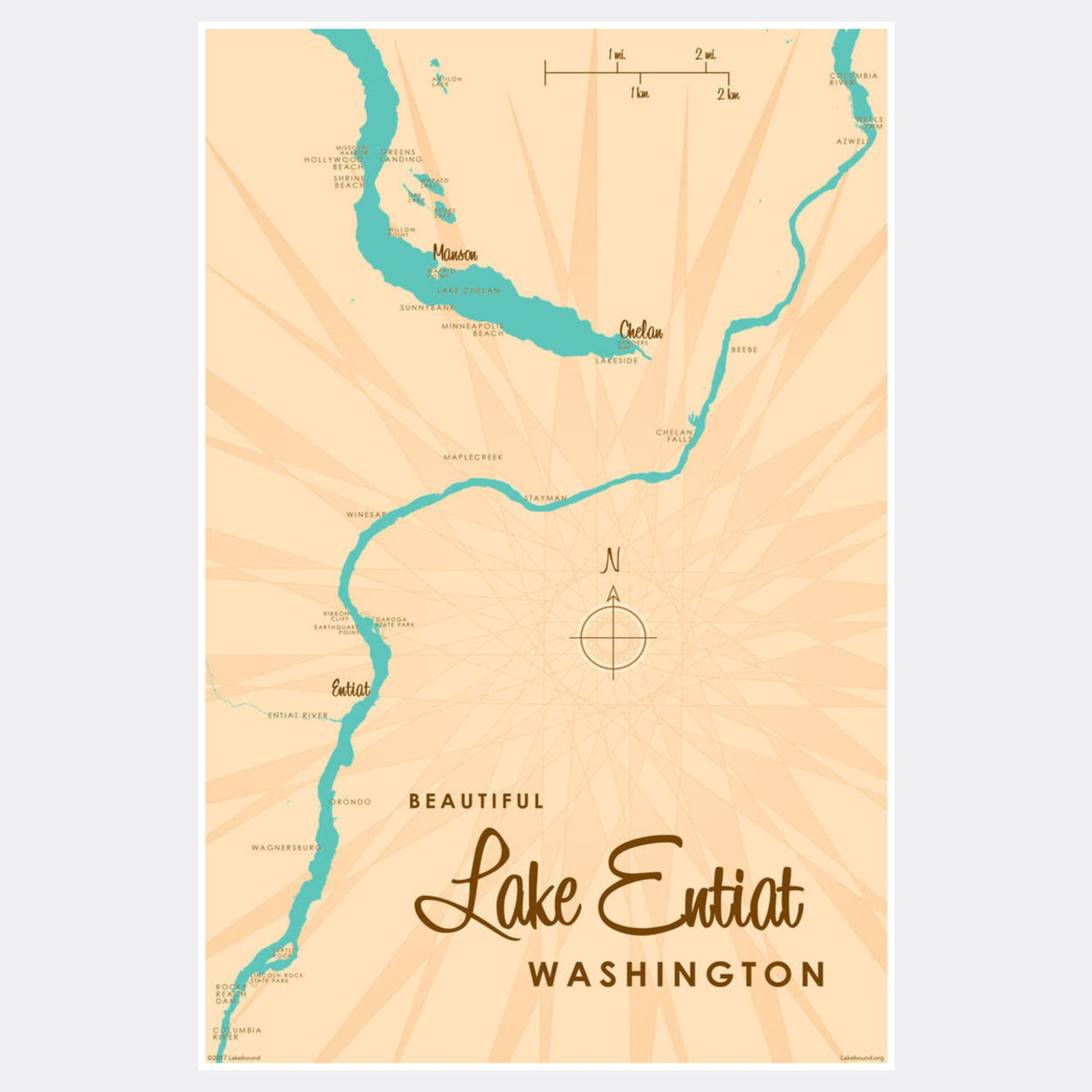 Lake Entiat Washington, Paper Print