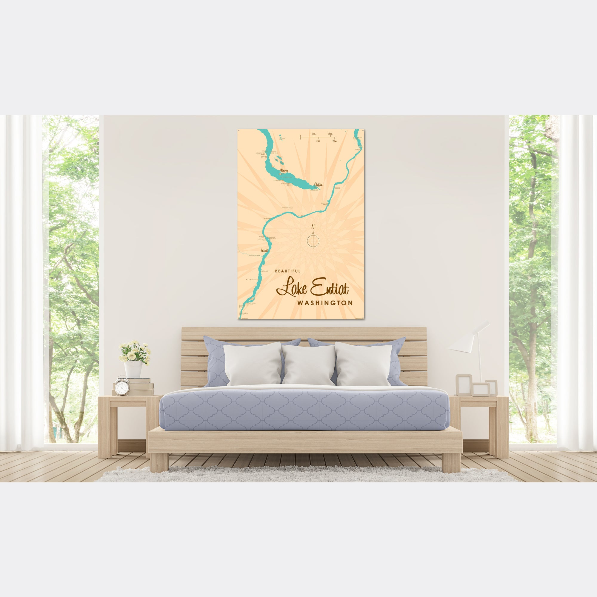 Lake Entiat Washington, Metal Sign Map Art