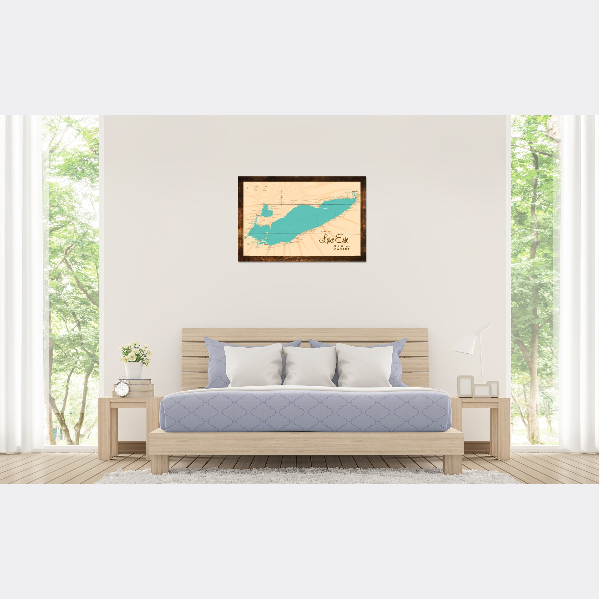 Lake Erie Ohio, Rustic Wood Sign Map Art