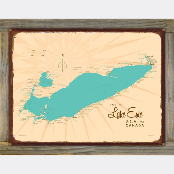 Lake Erie Ohio, Wood-Mounted Rustic Metal Sign Map Art