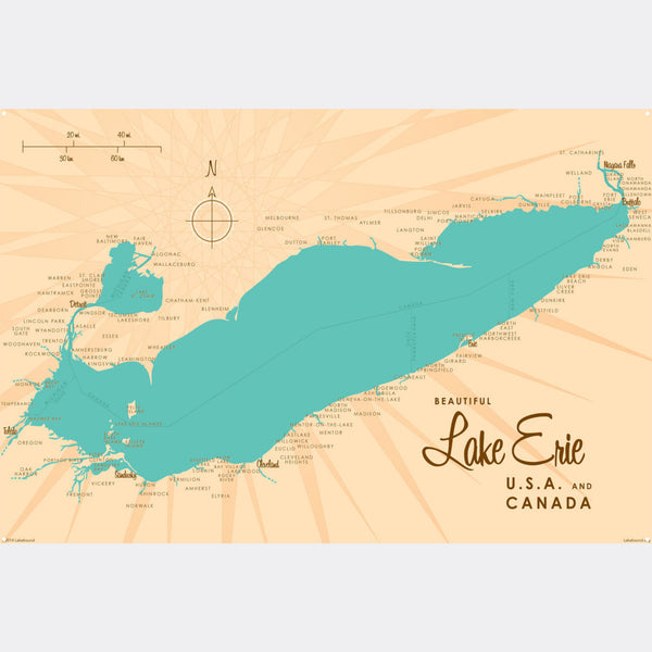 Lake Erie Ohio, Metal Sign Map Art