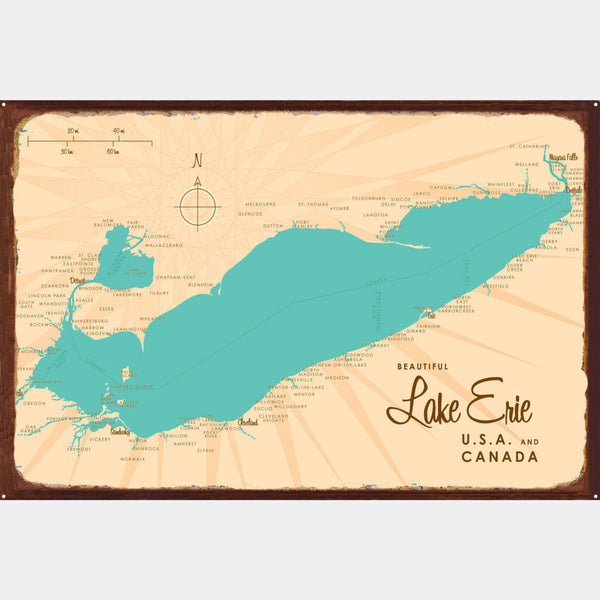 Lake Erie Ohio, Rustic Metal Sign Map Art