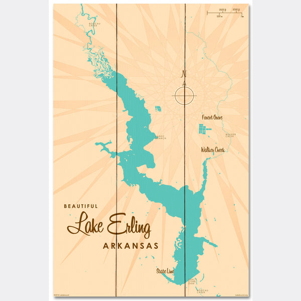 Lake Erling Arkansas, Wood Sign Map Art