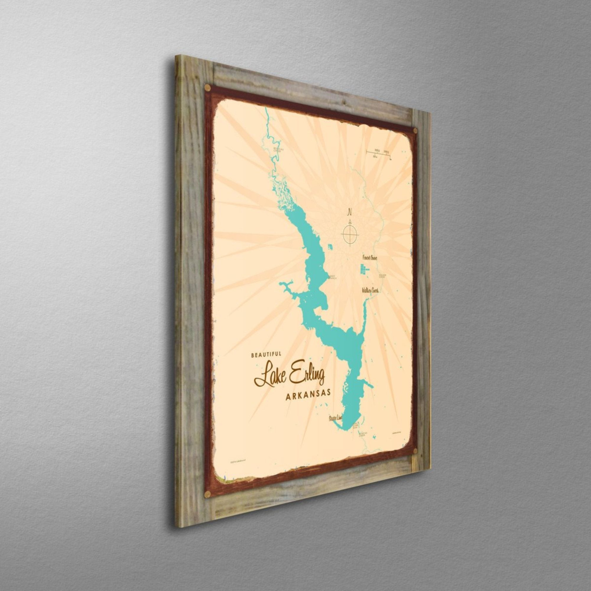Lake Erling Arkansas, Wood-Mounted Rustic Metal Sign Map Art