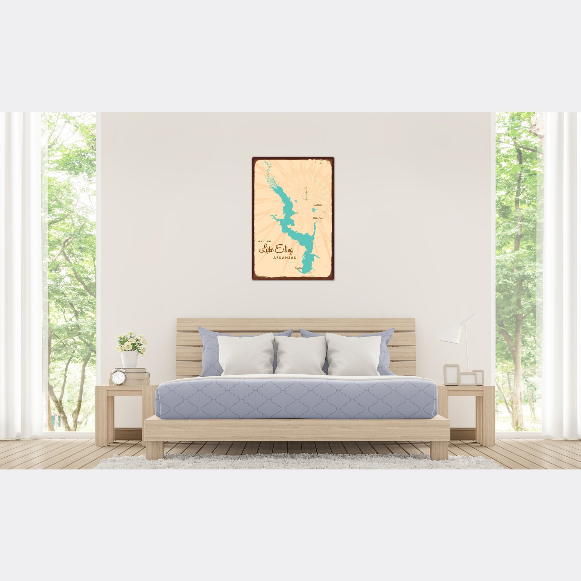 Lake Erling Arkansas, Rustic Metal Sign Map Art