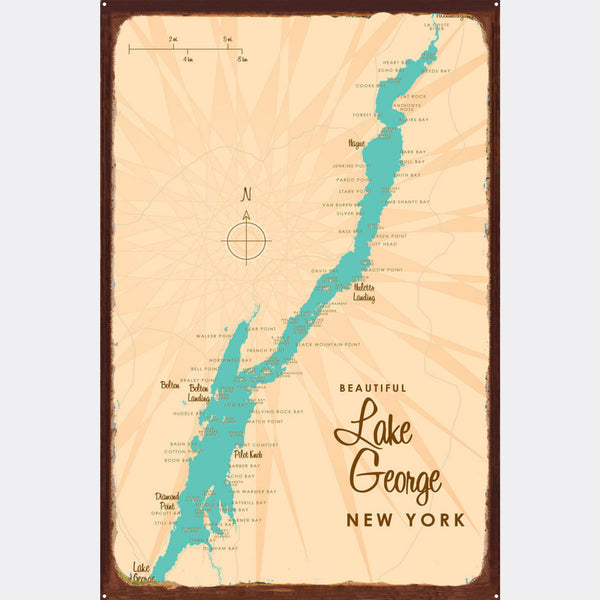 Lake George New York, Rustic Metal Sign Map Art