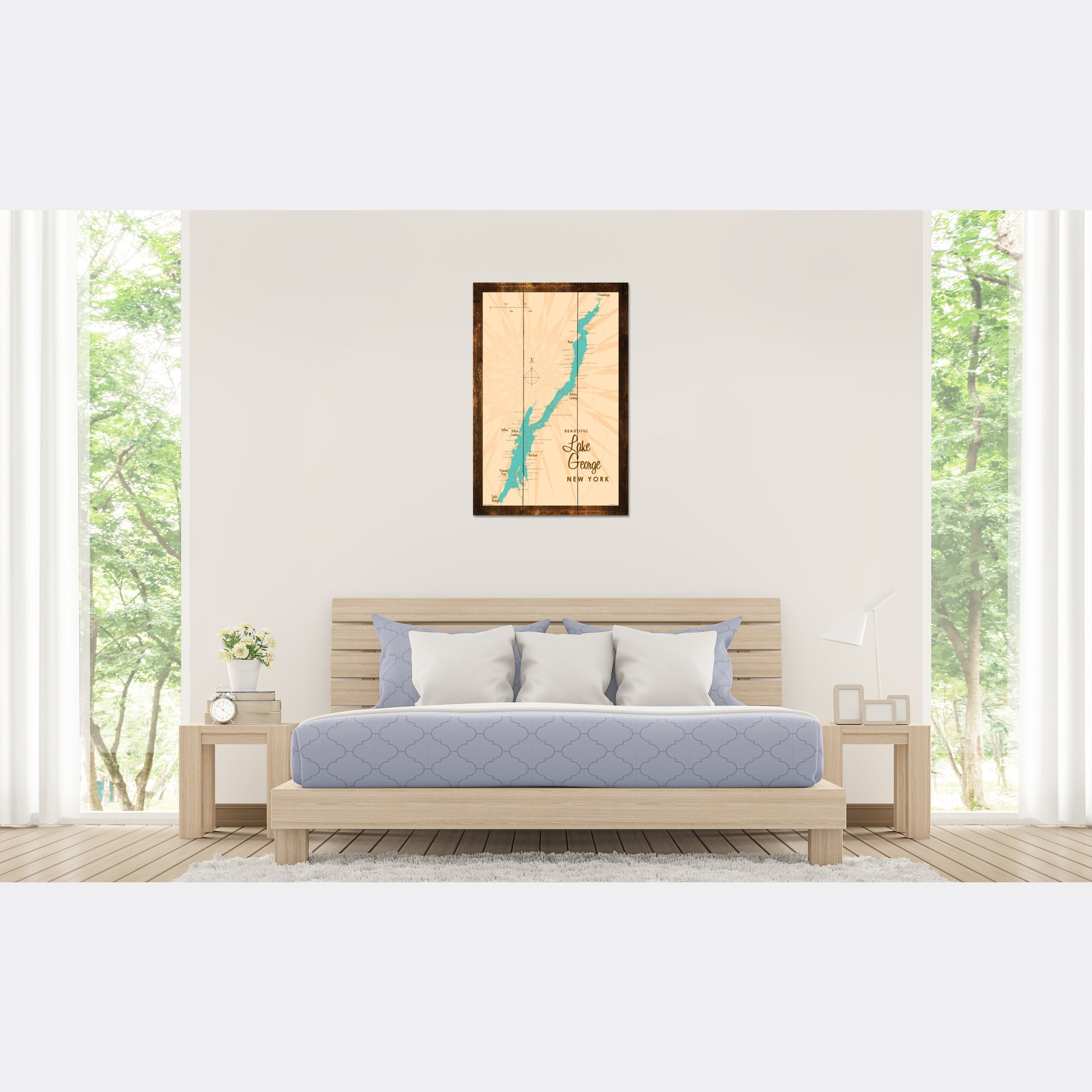 Lake George New York, Rustic Wood Sign Map Art