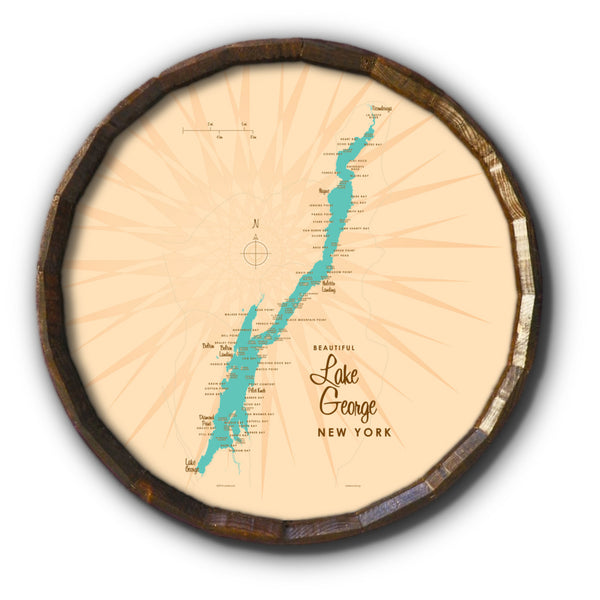 Lake George New York, Barrel End Map Art