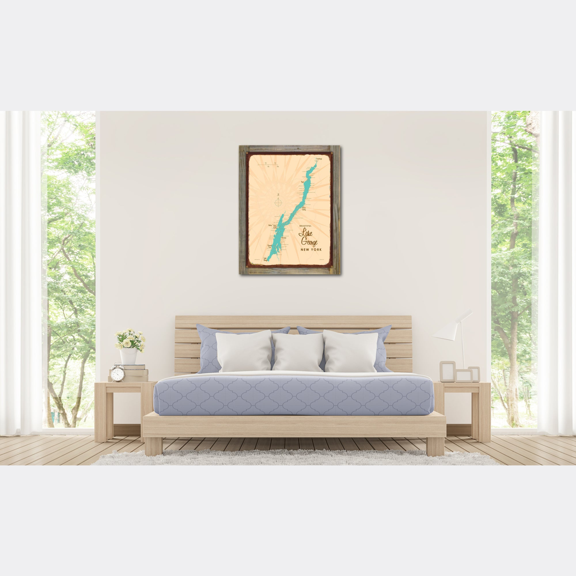 Lake George New York, Wood-Mounted Rustic Metal Sign Map Art