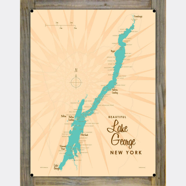 Lake George New York, Wood-Mounted Metal Sign Map Art