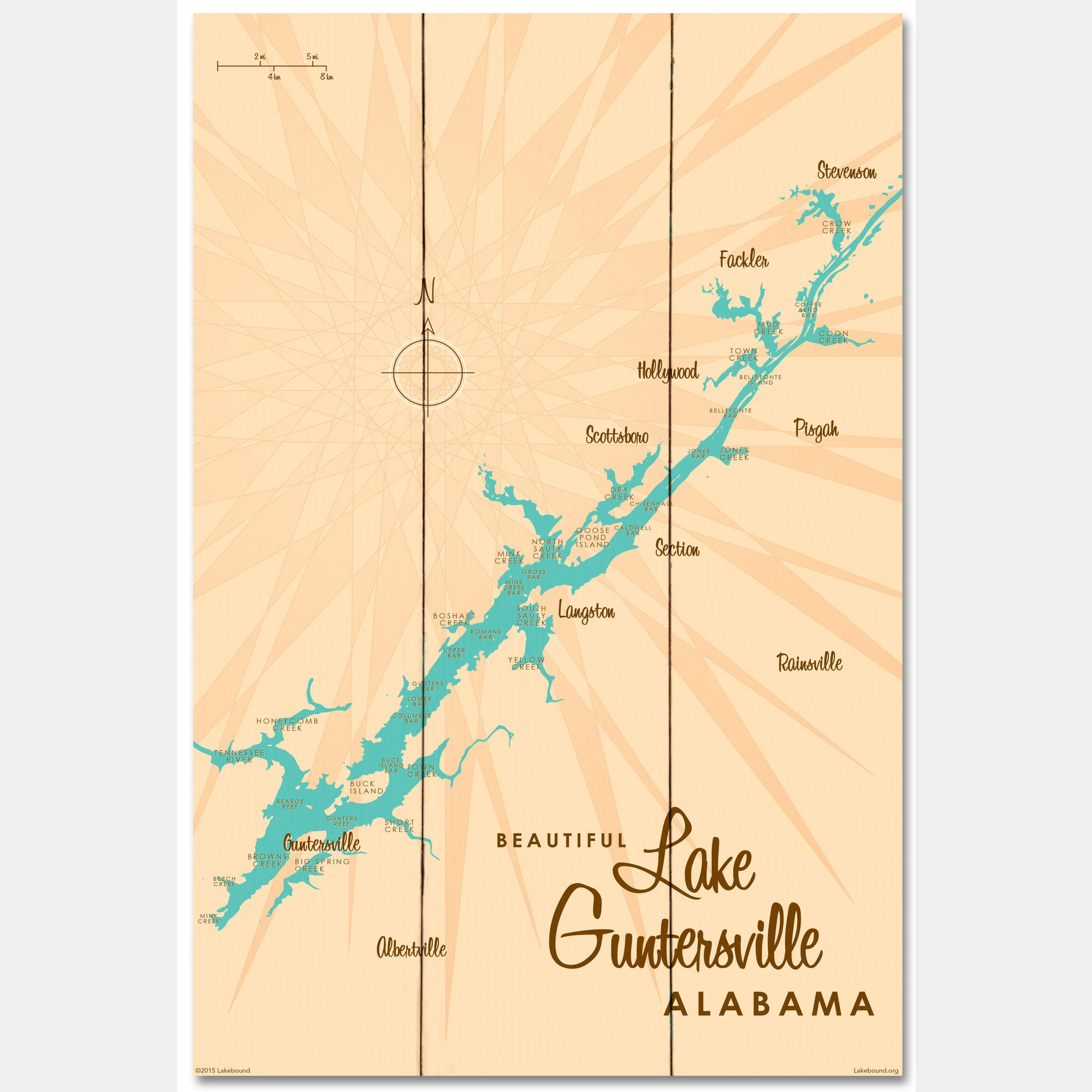 Lake Guntersville Alabama, Wood Sign Map Art