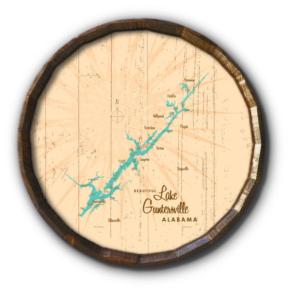 Lake Guntersville Alabama, Rustic Barrel End Map Art