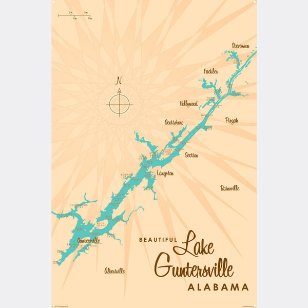 Lake Guntersville Alabama, Metal Sign Map Art