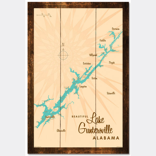 Lake Guntersville Alabama, Rustic Wood Sign Map Art