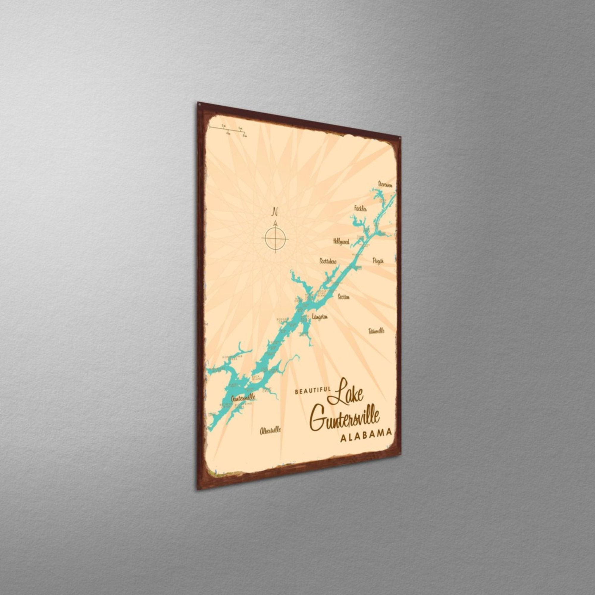 Lake Guntersville Alabama, Rustic Metal Sign Map Art