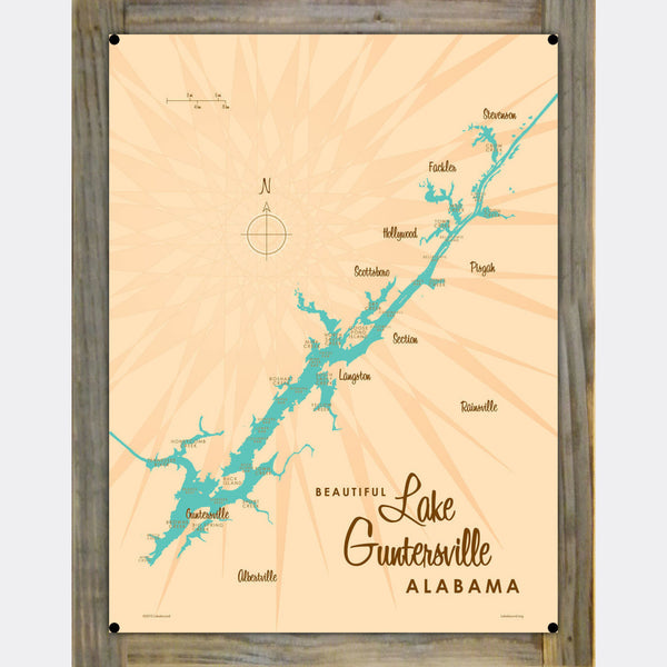 Lake Guntersville Alabama, Wood-Mounted Metal Sign Map Art