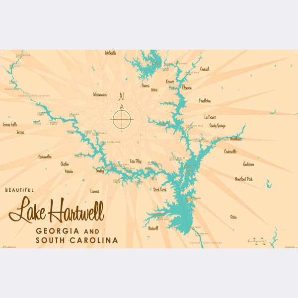 Lake Hartwell, Metal Sign Map Art