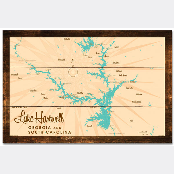 Lake Hartwell, Rustic Wood Sign Map Art