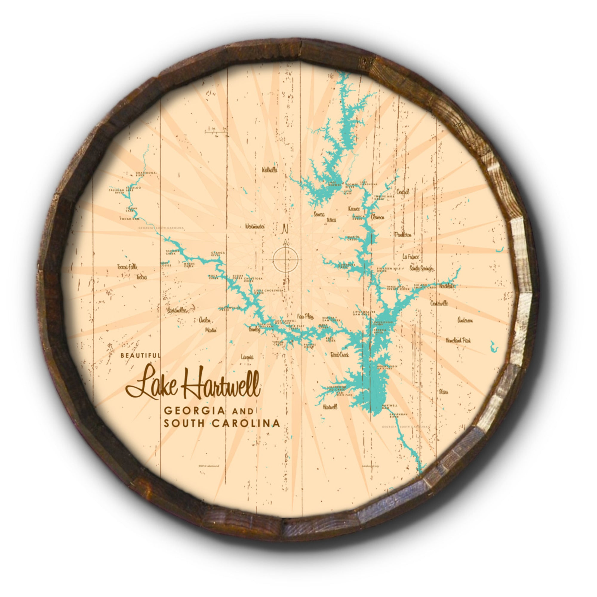 Lake Hartwell, Rustic Barrel End Map Art