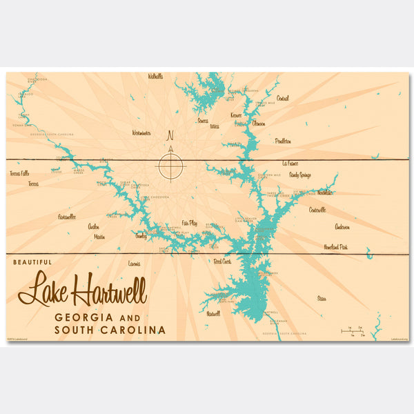 Lake Hartwell, Wood Sign Map Art