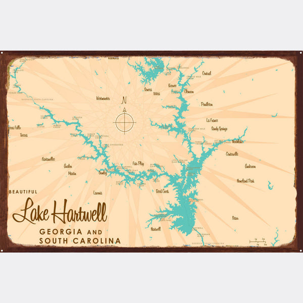Lake Hartwell, Rustic Metal Sign Map Art